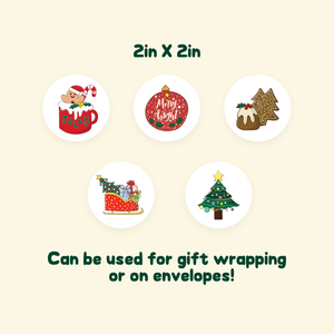 Christmas gift wrapping / envelope sealing stickers