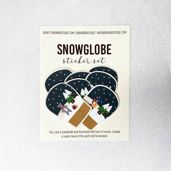 snow globe winter sticker set