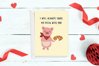 Piggy sharing Pizza Valentine's day Card