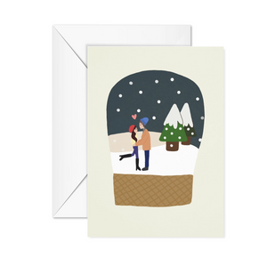 Snow Globe Boy Girl Christmas Card