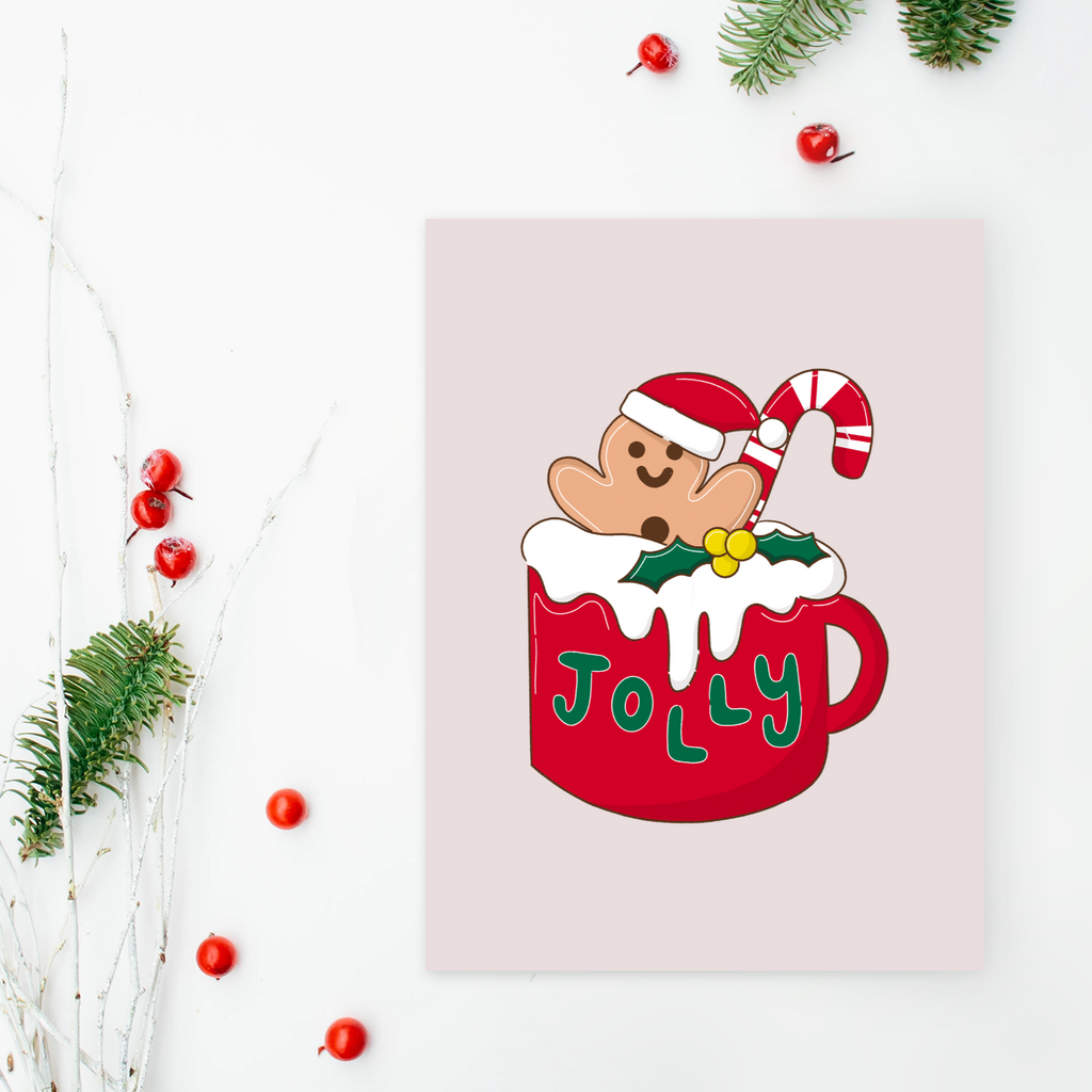 Retro Gingerbread man and cancdy cane Christmas Card (Single or Card Pack)