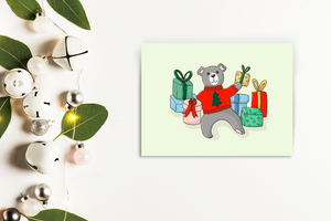 Bear with gifts chirstmas card