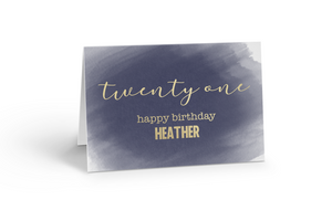 Foiled Happy 21th Birthday Card