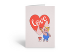 Piggy the painter anniversary card, I love you card