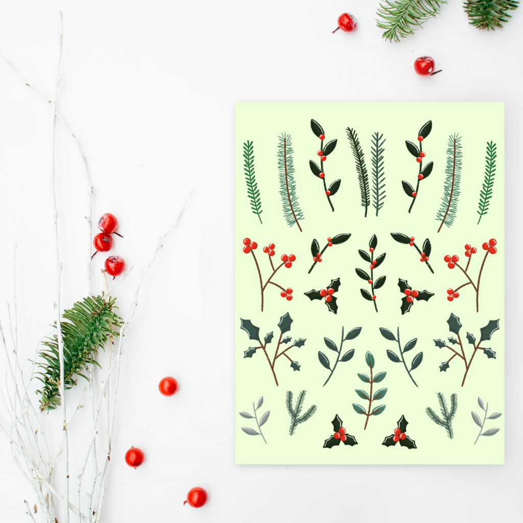 Winter Greenery Christmas Greeting Card (Single or Card Pack)