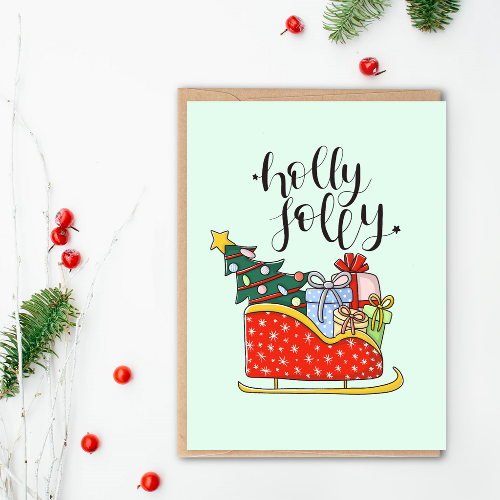 Holly Jolly Santa's Sleigh Christmas Card