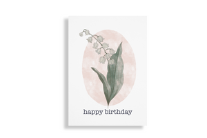 Lily of the valley May birth flower birthday card