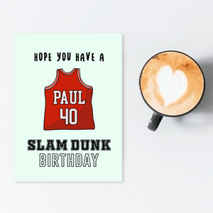 Personalized slam dunk birthday card