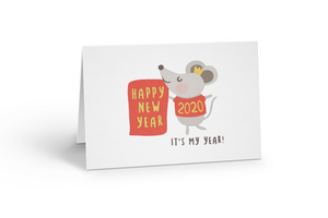 Chinese new year card, Lunar new year card, Happy new year card, Year of the Rat