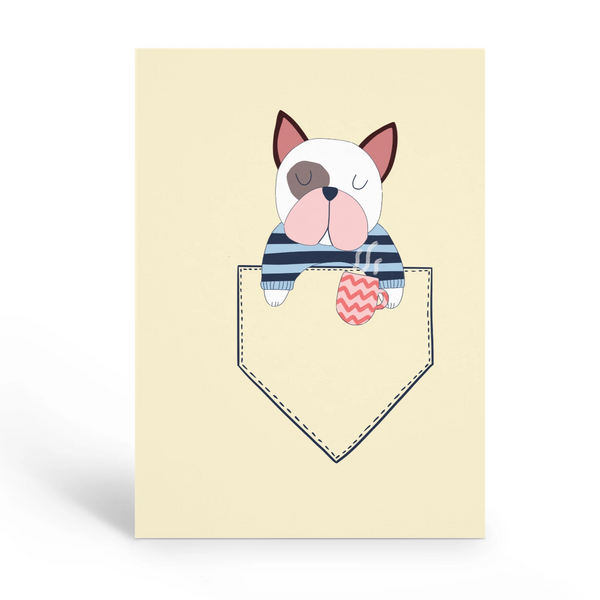 French Bulldog in a pocket Blank Card