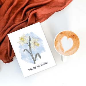 Daffodil March birth flower birthday card
