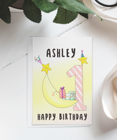 First Birthday Card for girls