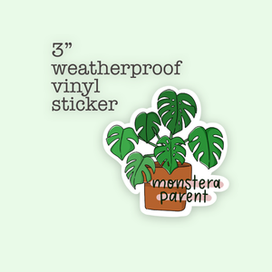 Monstera plant parent vinyl sticker