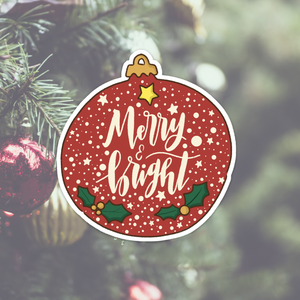 Merry and Bright Ornament Vinyl Sticker