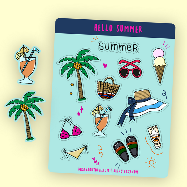 Hello Summer Planner Stickers