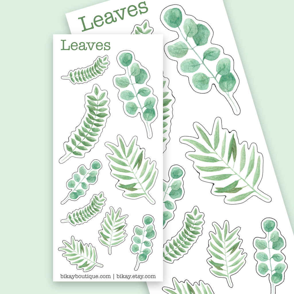 Watercolor leaves stickers