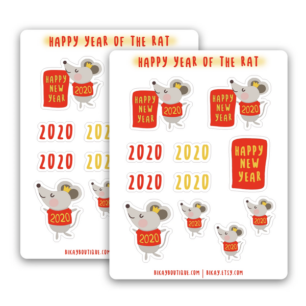 Lunar new year sticker sheet, lunar new year, happy new year stickers, year of the rat