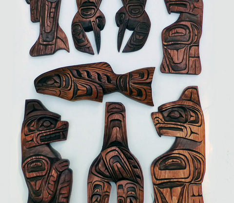 First Nations Native Carvings Collection (Raven, Bear, Salmon, Eagle, Orca, Hummingbird & Killer Whale)