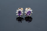 Dainty set of Amethyst and diamond cluster style earrings set in 10 karat gold