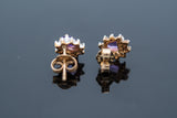 Amethyst Cluster Earrings set in 10 karat yellow gold with single cut diamonds