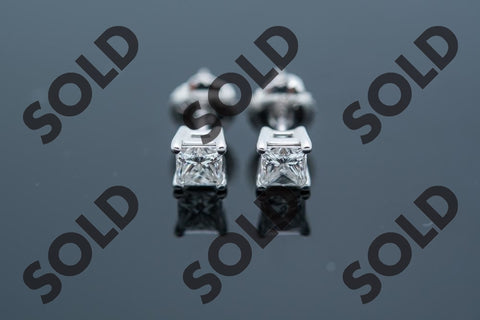 Princess Cut Diamond Earrings .72ct total weight. set in 14 karat white gold
