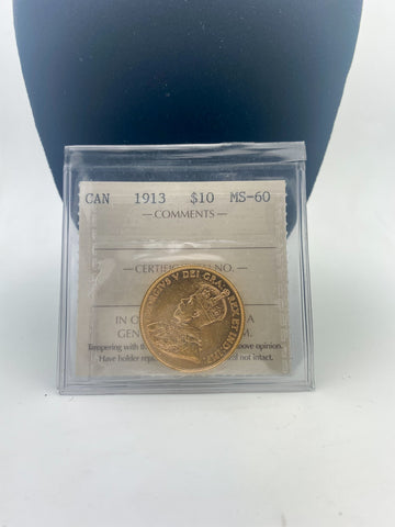 Canadian $10.00 Gold Coin Graded MS60 by ICCS