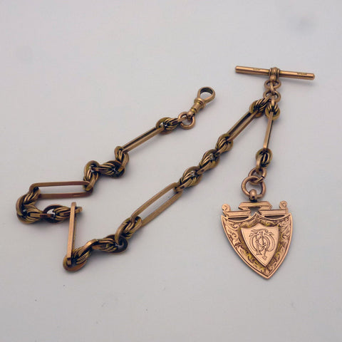 Antique 9 ct Yellow Gold Watch Chain & Fob