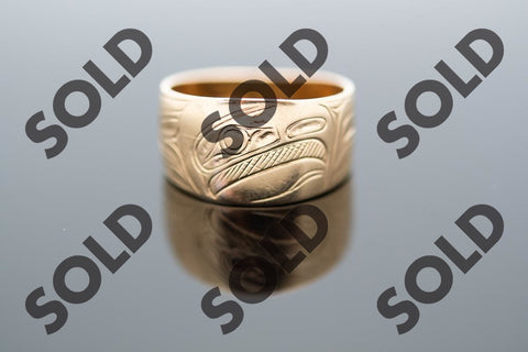 Hand Carved Eagle ring in 14 karat yellow gold