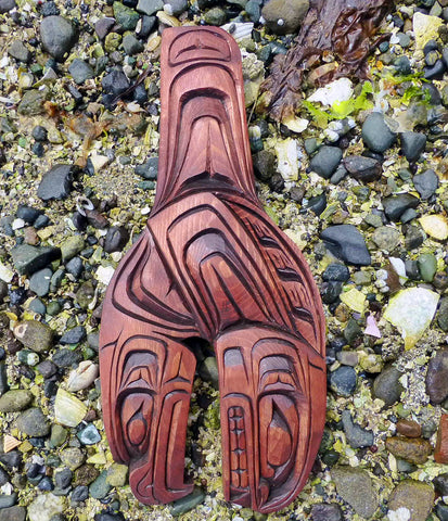 The Killer Whale and the Eagle. Two powerful symbols in the North West Coast Native Lore captured in hand carved Red cedar by Gino Seward.