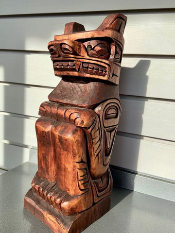Beautifully carved Bear Totem by Gino Seward