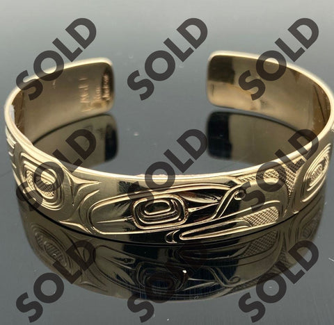 14 Karat Native Carved Eagle bracelet by Tsimshian Artist Ron Jackson available at Nicol Street Pawnbrokers