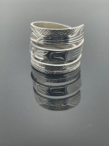 Sterling Silver Wolf wrap ring by Kwaikuitl artist Solomon Seward of King Come Inlet BC