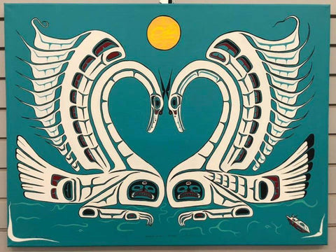 "Heiltsuk Swans entitled ""Always"" by Fred Anderson of Rivers Inlet B.C."