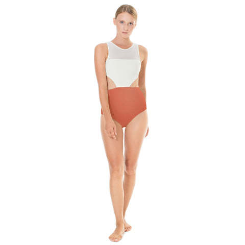 September Malibu One Piece Ivory / Burnt Sienna