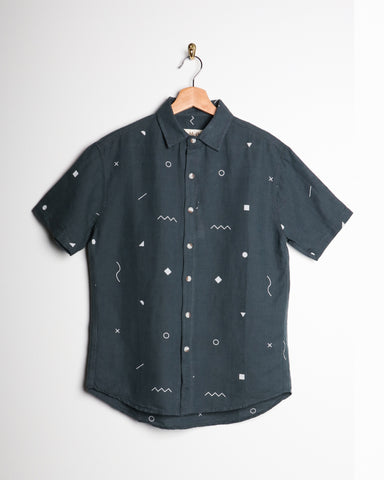 Mollusk Blue Geometry SS Buttondown