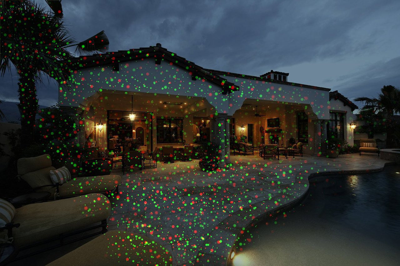 outdoor laser lights displaying on a house