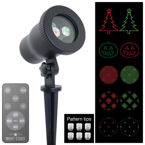 Laser Lights - Red & Green Laser with Interchangeable Tips with Remote - Night Stars Landscape Lighting