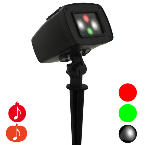 Laser Lights - Red & Green Laser with LED Spotlight & Holiday Sounds - Night Stars Landscape Lighting