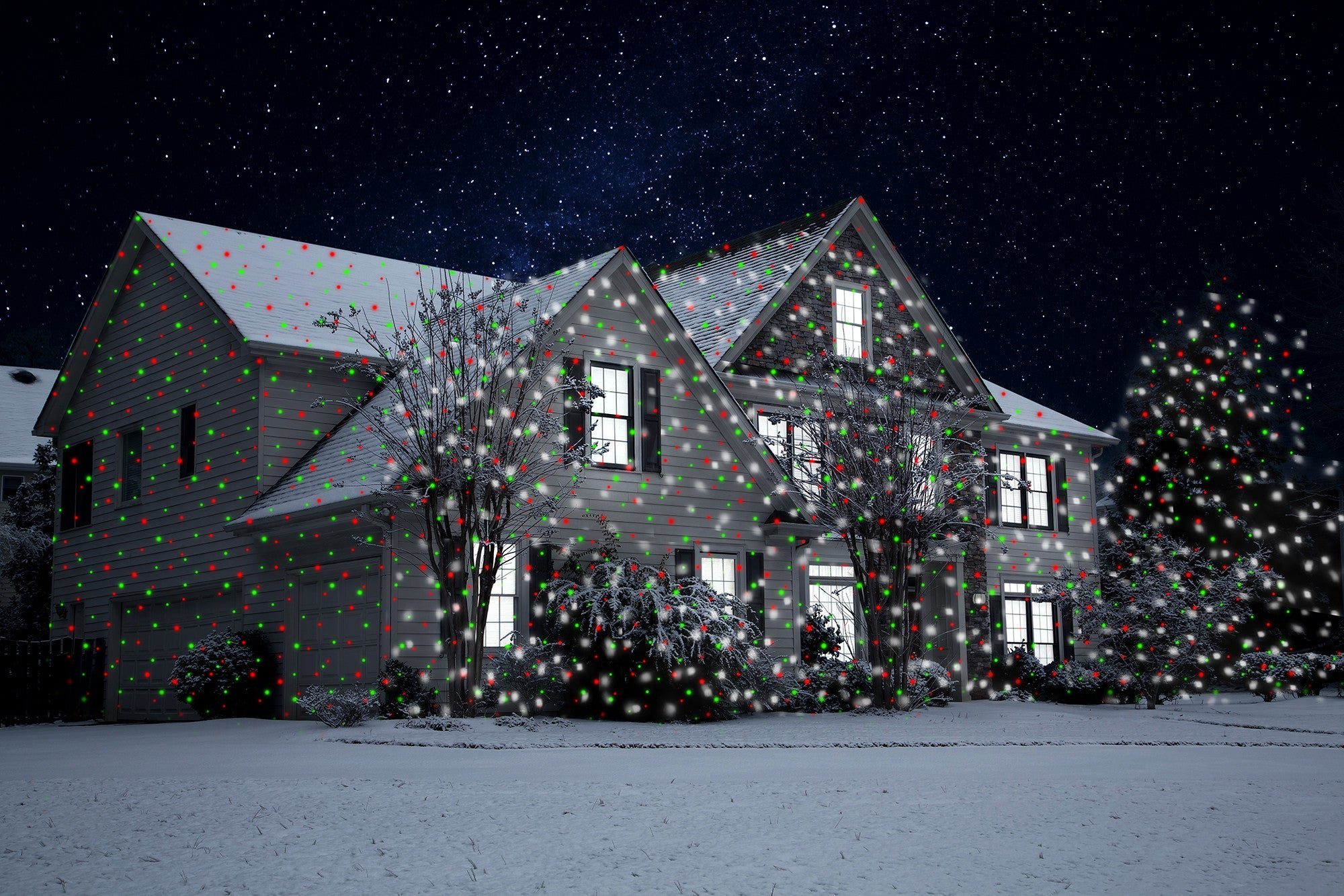Red & Green Laser with Moving LED Snowfall with Remote - Night ...