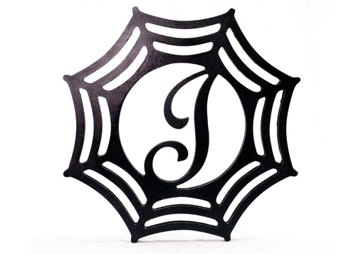 Painted Monogrammed Wood Spiderweb