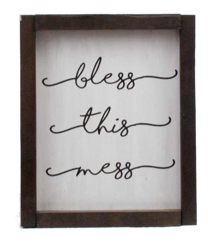 Bless This Mess Farmhouse Wood Print