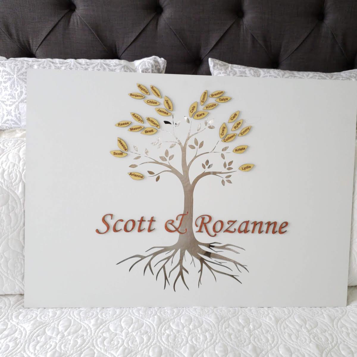 Engraved Family Tree with Dimensional Letters and Leaves