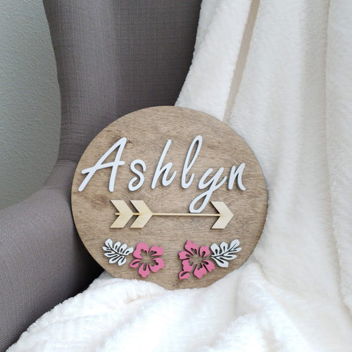 Girls Name Wall Decor Floral, Arrow and with Dimensional Letters