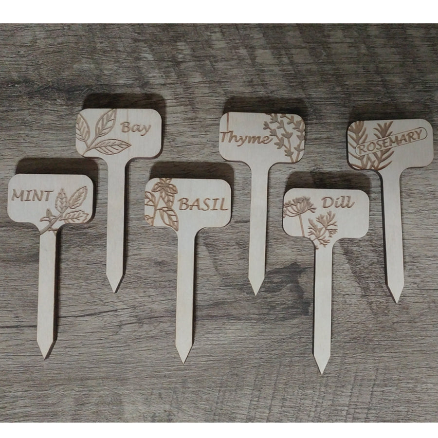 Set of 6 Wood Herb Garden Markers