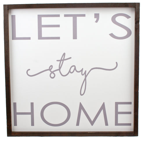 Let's Stay Home Farmhouse Wood Print