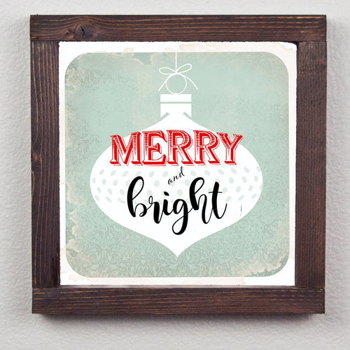 Merry and Bright Farmhouse Wood Print