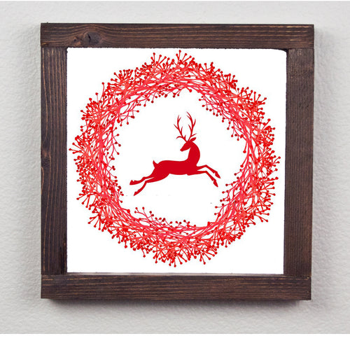 Reindeer Farmhouse Wood Print