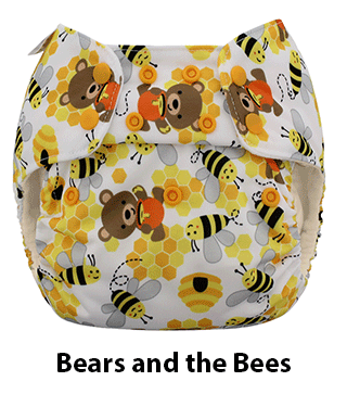 Blueberry One Size Simplex AIO Diaper Bears and the Bees
