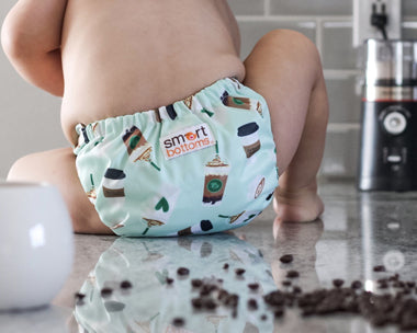daily grind coffee print cloth diaper