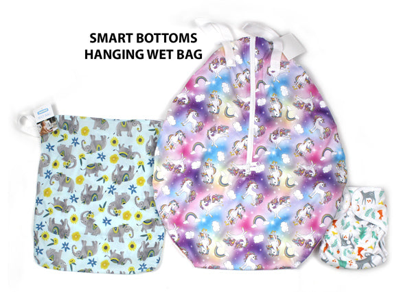 Smart Bottoms hanging wet bag size comparison